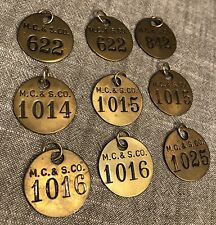 9 M.C & S CO VINTAGE TIME CHECK TAGS Numbered Tool Tags