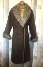 Beautiful Principles Glam Brown Faux Fur Coat Size 10 - Ex Condition