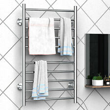 10-Bar Heated Towel Warmer Wall Mounted Electric Dryer Stainless Steel