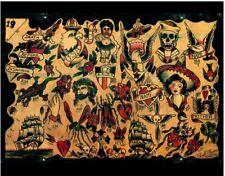pro print paul rogers antique 1930s tattoo flash gypsy skull pinup clipper jesus