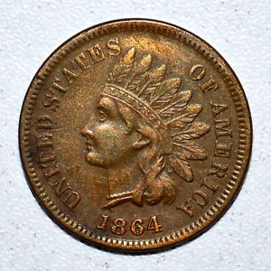 1864 INDIAN HEAD CENT ✪ AU ALMOST UNC DETAILS ✪ 1C L ON RIBBON BRONZE ◢TRUSTED◣