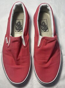 Women's VANS Red Slip On Shoes Size 7.5 FREE SHIPPING
