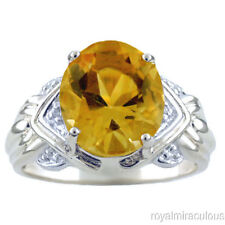 Citrine & Diamond Ring Sterling Silver or Yellow Gold Plated Silver