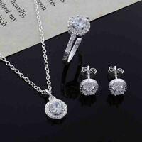 14K or blanc 925 argent collier anneau bijoux boucles d'oreilles ensemble trois