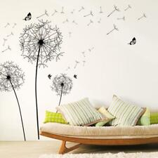 Black Dandelion Vinyl Wall Stickers Butterfly Decals Mural Removable Home Decors
