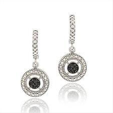 925 Silver 1/10ct Black Diamond Dangle Hoop Earrings