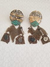 Mixed Metals Clip On Earrings Vintage Signed Beth Orduna Stone &
