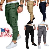 Mens Slim Pocket Fit Urban Straight Leg Trousers Pencil Jogger Cargo Sport Pants