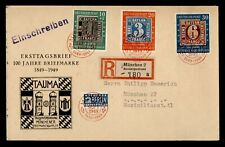 DR WHO 1949 GERMANY FDC STAMP CENTENARY CACHET COMBO REGISTERED  g42731
