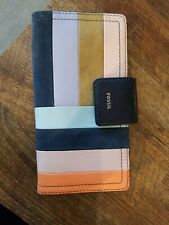 Fossil Striped Leather Full Size Wallet Organizer women's multicolored