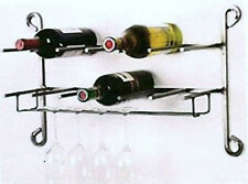 Black or Silver Iron Scroll 12 Bottle 6 Glass Wall Sturdy Storage Wine Rack
