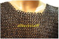 Chain Mail Shirt Round Riveted Ring with Flat Washer Shirt Black Finish Medium