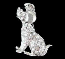 Venetti Silver Colour Dog Brooch Encrusted With Genuine Crystal Stones