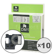 """10pk Black on Clear Tape Label Compatible for DYMO 43610 D1 6mm 1/4"""""""