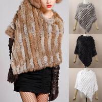 Women Faux Rabbit Fur Poncho Cape Knitted Shawl Wraps Autumn Winter Elegant UK