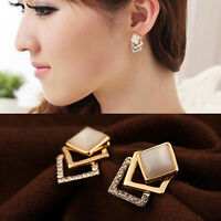 1 Pair Women New Fashion Ear Stud Hollow Crystal Jewelry Gold Plated Earrings