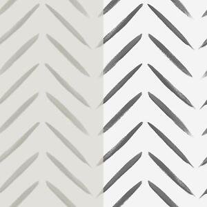 Abstract Chevron Brush Marks Black Or Taupe Paint Wallpaper