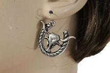 Women Cowgirls Silver Metal Fashion Earrings Set Long Horn Texas Cow Bull Rodeo