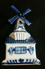 """Delft Porcelain Windmill Music Box """"Tulips From Amsterdam"""" Handpainted Holland"""