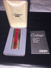 Vintage Zippo Contempo Butane Lighter in Box w/Papers Gold Tone & RED Sale !