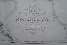 CARTE DU DETROIT DE MAGELLAN, ORIGINALE DE 1841 , ASTROLABE ,  54 cm X 65,5 cm
