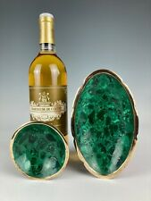 More details for stunning vintage retro african congo malachite mineral specimen & brass bowls