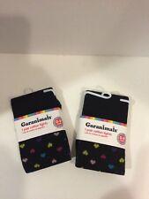 Garanimals 2 Pairs Cotton/Polyester Infant Tights 0-9 Months Hearts Design