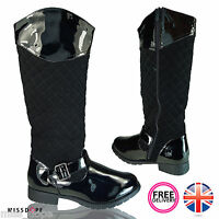 NEW BLACK QUILTED LADIES LOW HEEL BOOTS WINTER RIDING ZIP WOMENS FUR WARM LINED