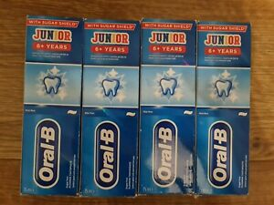 4x ORAL-B JUNIOR 6+ YEARS SUGAR FREE FLUORIDE TOOTHPASTE 75ML EXP 2022 New