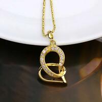 14k Yellow Gold Filled Valentine Heart Zircon Pendant Necklace  Earring Set