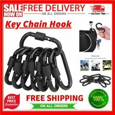 New listing Locking Carabiner Clip, Caribeaner Clips Black D Ring Spring Snap Key Chain Hook