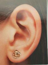 7 mm Flower Rose Stud Earrings 14k Rose Gold 1.4 grams Push Back Women