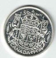 CANADA 1949 50 CENT HALF DOLLAR GEORGE VI CANADIAN .800 SILVER COIN