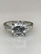 3.50  ctw Asscher Cut Engagement / Wedding Ring 14K White Gold #4509