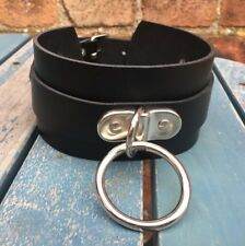 Leather 60mm D & O-Ring Strap Collar Choker Multi Colours Hand Made Real Leather