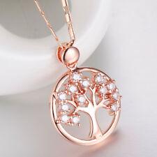 Rose Gold Anhänger Halskette Medaillon AAA+ Zirkonia Lebensbaum Kristall Strass
