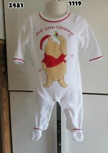 Disney Pooh Sleeper Christmas Infant Boy or Girl Long Sleeve White