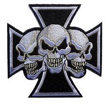 """3"""" maltese cross devil triple skulls biker motor Embroidered iron on PATCH"""