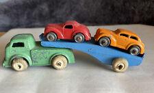VINTAGE BARCLAY 1930's LEAD SLUSH CAST CAR CARRIER AUTO HAULER TOY TRUCK & CARS
