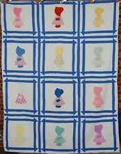 30's Sunbonnet Sue Churn Dash Antique Quilt ~Nice Blue!