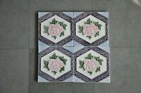 4 Pc Vintage Majolica Flower Embossed Art Nouveau Architecture Tiles,Japan?