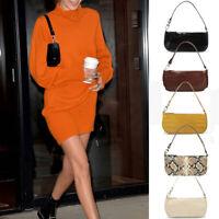90s Retro Baguette Shoulder Mini Bag Women Faux Leather Rachel Elegant Handbag