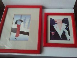 Pair (2) Athena Art Prints Vintage/Retro 1980s Red Frames Drop III & Cocktails