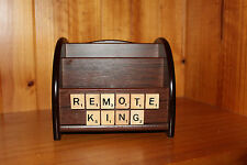 TV REMOTE CONTROL HOLDER SCRABBLE TILES 'REMOTE KING' ORGANISER - FREE POST