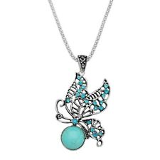 Rhinestones Turquoise Silver Plated Butterfly Pendant Necklace 17 Inch Chain