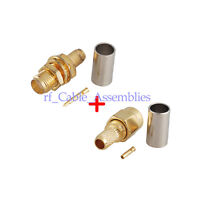 5 kit RP SMA Male Plug /Female Jack bulkhead RF Connector Crimp for LMR200 cable