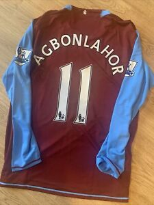 Aston Villa home Shirt match player issue/ worn Agbonlahor 11 Long Sleeve 07/08