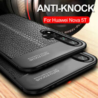 For Huawei Nova 5T Shockproof Silicone Rubber TPU Leather Slim Back Cover Case