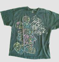 Mickey Mouse T-Shirt Black All Over Print  XL Paint Splatter Vintage Disney