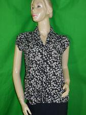 BONOBO JEANS Taille L 40 42 très jolie chemise manches courtes femme noir gris